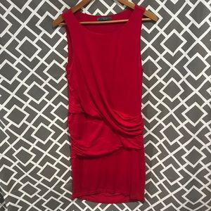 Velvet red sleeveless flattering drape dress (L)